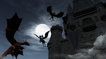 castle buildings: Illustration of two Red Dragons attacking the castle. An elf on pegasus protect it.