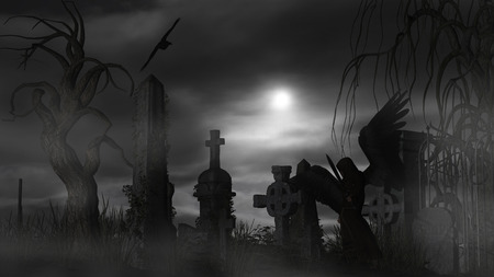 Illustration of a Dark Angel at a graveyard on a foggy night with full moon