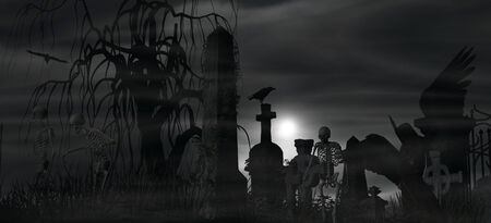 dark angel: Illustration of a Dark Angel at a graveyard on a foggy night with full moon and three skeletons