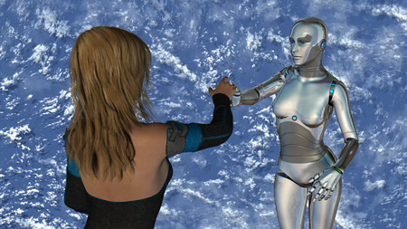 reconciliation: Woman and robot at blue sky - Artificial Intelligence Technology