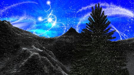 flurry: Christmas winter landscape in the mountains at day light. Angel dust and a starry sky with Christmas tree
