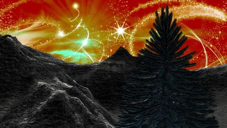 red sky: Christmas landscape in the mountains. Angel dust and a starry red sky with Christmas tree