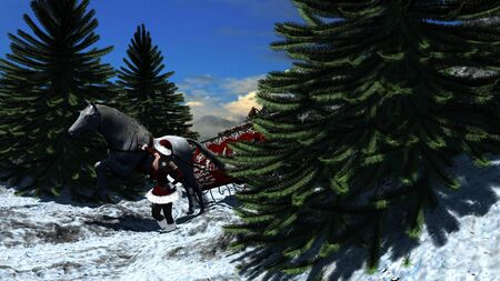 horse sleigh: Young woman in Santa Claus clothes over snowy mountains with sleigh and a white horse - Christmas Illustration