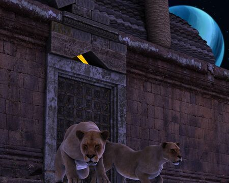3d lion: 3D rendered - Guardian Lions of an ancient fantasy temple in the night