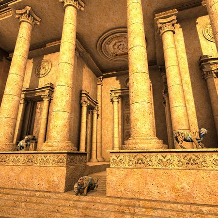 3D rendered - Guardian Tigers of an ancient fantasy temple