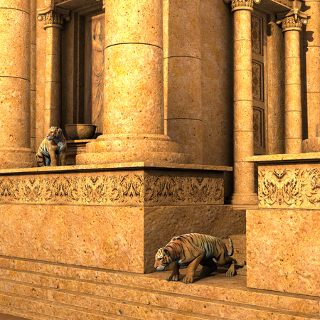 3d temple: 3D rendered - Guardian Tigers of an ancient fantasy temple