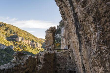 philosophers: The old Filosofou monastery ruins near Dimitsana and Stemnitsa in Greece Stock Photo