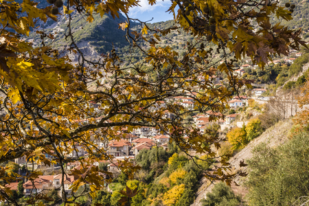 peloponissos: Picturesque mountain traditional village behind a tree in Arcadia, Greece
