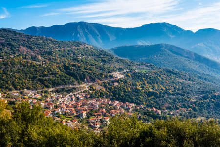 arkadia: Picturesque mountain traditional village in Arcadia, Greece Stock Photo