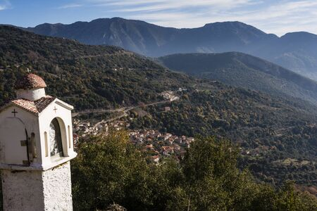 peloponissos: Picturesque mountain traditional village in Arcadia, Greece Stock Photo