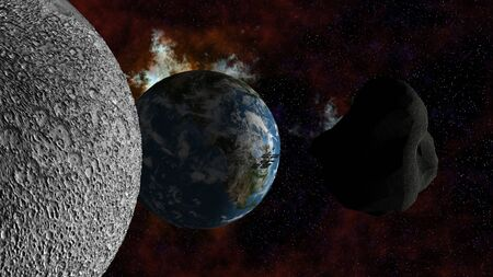 planetoid: Large Asteroid passing the moon and approaching Earth. Elements of this image furnished by NASA.