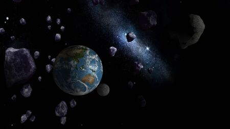 planetoid: Large Asteroids approaching Earth. Elements of this image furnished by NASA. Stock Photo
