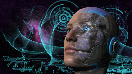 cybernetic: Cyborg woman with deep space and circuit design background