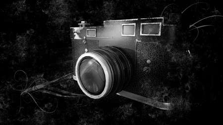 antiquities: Black and white old photo camera Stock Photo