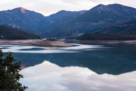 and arcadia: Ladonas artificial lake in Arcadia, Greece with mountains as background