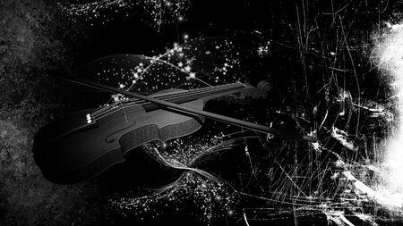 letras musicales: Ilustración de un violín en el fondo del grunge