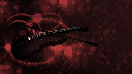 letras musicales: Ilustración de violín en el fondo del bokeh
