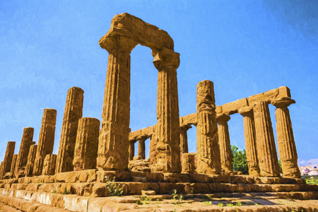valley of the temples: Ancient greek Temple of Juno Hera God, Agrigento, valley of temples, Sicily, Italy - Painting effect Stock Photo