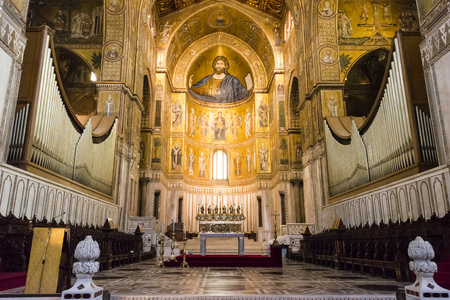 pantocrator: MONREALE, PALERMO ITALY - APRIL 13 2015 Interior of the cathedral Santa Maria Nuova of Monreale on April 13 2015 in Monreale near Palermo in Sicily, Italy