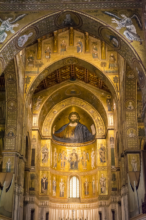 pantocrator: Monreale, Palermo Italy - April 13 2015 Interior of the cathedral Santa Maria Nuova of Monreale on April 13 2015 in Monreale near Palermo in Sicily, Italy Editorial