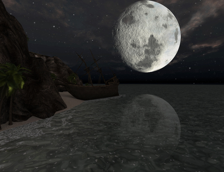 Shipwreck of a pirate sail boat on a tropical island at moonlight - 3D rendering