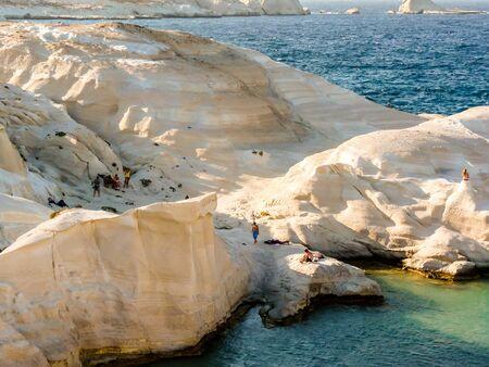 erupt: Milos island, Greece - August 28 2015: Sarakiniko beach view with rocks at the island of Milos in Greece