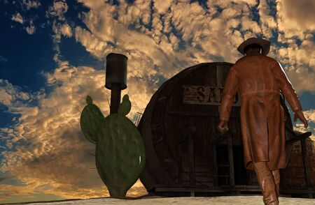 leather gloves: Illustration of a cowboy at sunset background in front of a saloon - 3D rendering Stock Photo