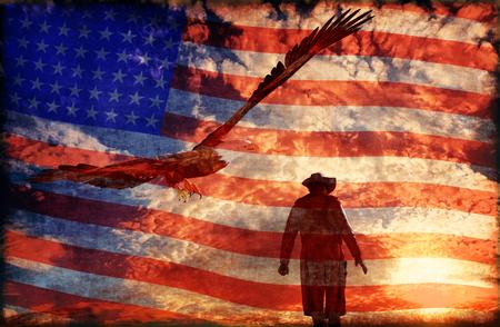 Illustrazione di un cowboy al tramonto con una bandiera di sfondo aquila e americano - Rendering 3D Archivio Fotografico