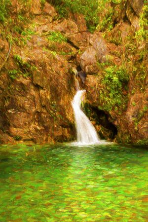olympus: Forest waterfall at Olympus mountain, Greece - painting Stock Photo