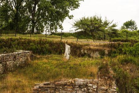 ancient philosophy: Ancient ruins and sculpture in Dion site, Greece.