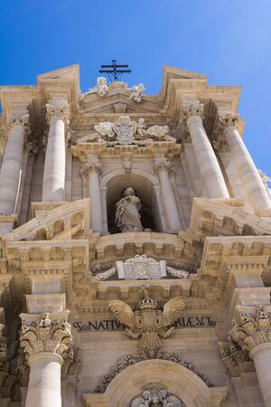 ortigia: Duomo di Siracusa - Syracuse catholic cathedral church, Sicily, Italy Stock Photo