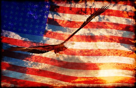 americana: Illustration of an eagle with american flag background - 3D rendering