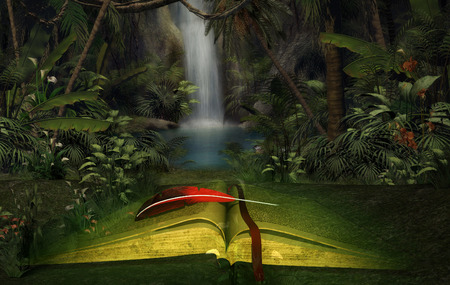 Abstract illustration of an open fantasy book in the jungle Imagens