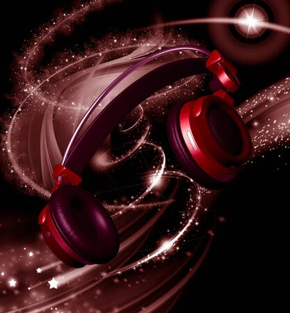 Realistic headphones with stars dust at black background