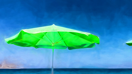 Green umbrella on the beach - painting effect