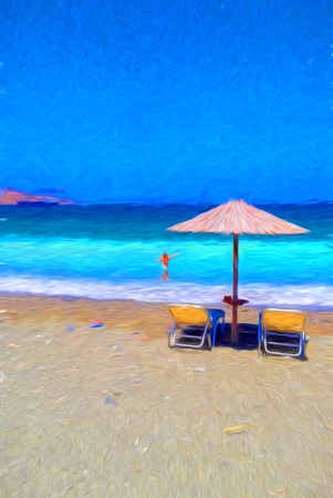 A girl with chairs and umbrella on a beautiful tropical beach - painting effect