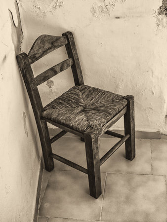 abandoned room: Old wooden chair in abandoned room