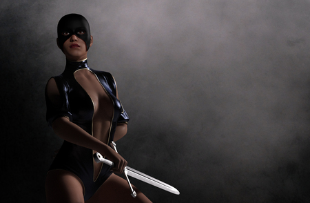seductive: Imaginary warrior woman with sword at dark background - 3D rendering