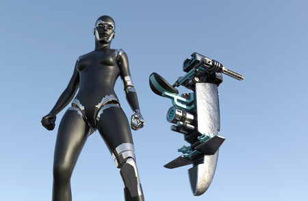 humanoid: Cyborg Woman - Humanoid with sci-fi vehicle - 3D rendering