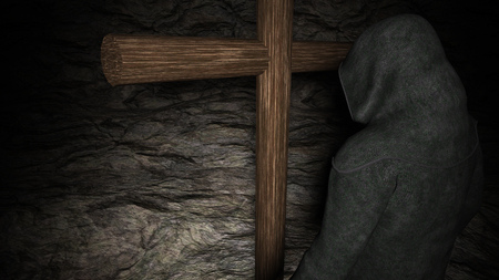 confessor: Christian monk with his head bowed, meditating. A wooden cross exists at background - 3D rendering