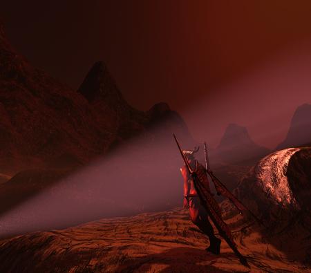 Illustration of diabolic demon in hell - 3D rendering