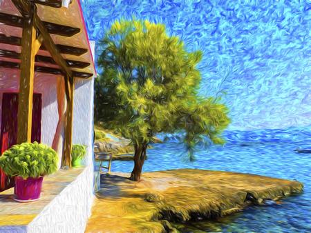 paisaje mediterraneo: Casa cerca del mar, paisaje marino de verano en la isla de Milos, Grecia - efecto de la pintura
