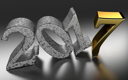 brushed: Year 2017 with metallic letters and ground reflections - 3d rendering