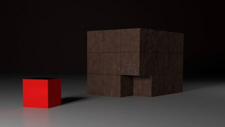 missing piece: Grunge brown cube with red missing piece - 3d rendering