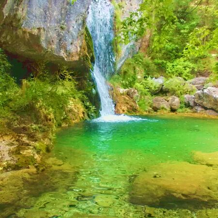 olympus: Forest waterfall at Olympus mountain, Greece - painting effect