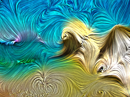 Colorful paint swirls abstract background in summer beach colors. Digital color on the subject of art, design, and creativity.