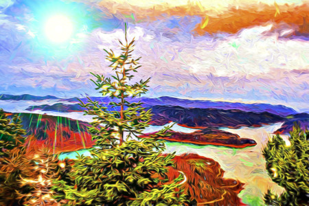 Plastiras lake panoramic view in central Greece. Digital paint.