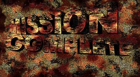Misión completa texto 3D en el fondo del grunge, ilustración Foto de archivo
