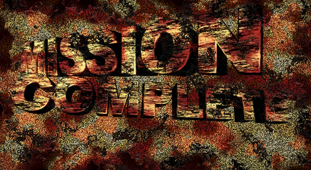 accomplish: Mission complete 3D text at grunge background, illustration Stock Photo