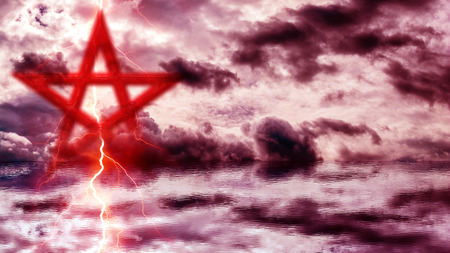 Pentagram over red cloudy sky and red ocean